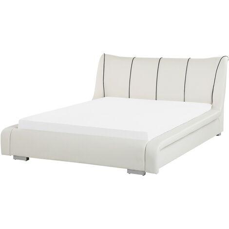 Leather EU Double Bed White NANTES