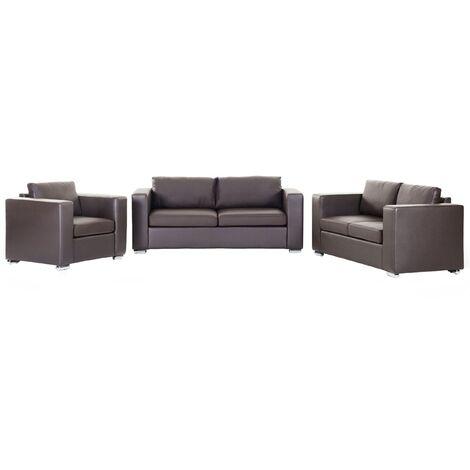 Leather Living Room Set Brown HELSINKI