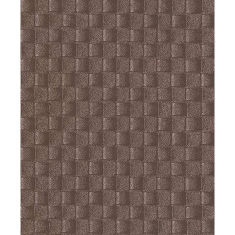 Leather Look Wallpaper Square Pattern Textured Vinyl Metallic Brown Erismann