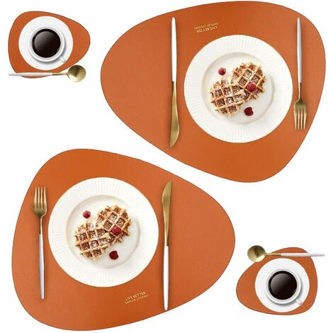 Leather Placements and Glass Box Set, Washable Round Table Mat, Waterproof Coffee Mat, Heat Resistant Kitchen Table Place Mat (Brown)