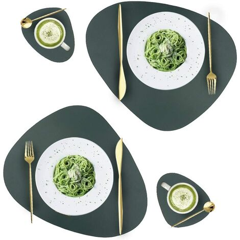 Leather Placements and Glass Box Set, Washable Round Table Mat, Waterproof Coffee Mat, Heat Resistant Rental Mat for Kitchen Dining Table (Green)