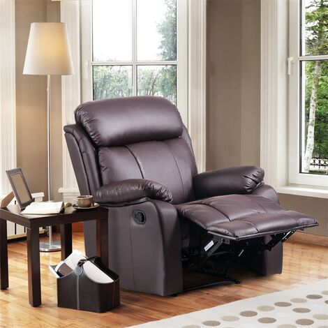 Leather Recliner Chair Tilt Sofa Push Back Armchair Sofa for Home Lounge Gaming Cinema High-Back Chair (Brown)