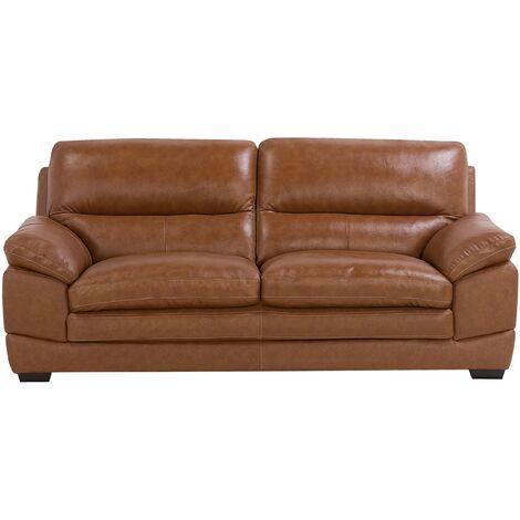 Leather Sofa Golden Brown HORTEN