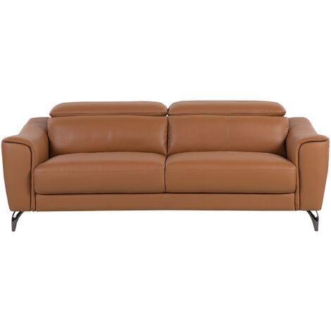 Leather Sofa Golden Brown NARWIK