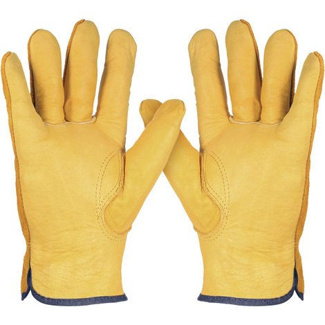 Leather Work Gloves Non-Slip Safety With Elastic Cuff XL