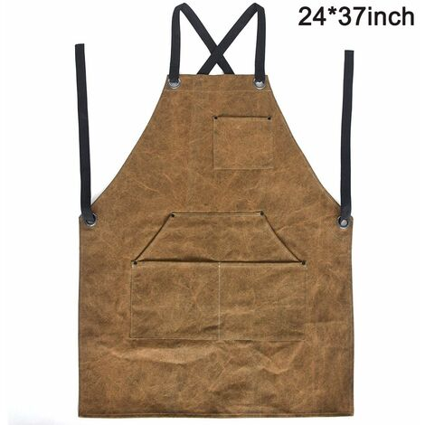 """Leather Work Shop Apron with Tool Pockets Heat & Flame Resistant Heavy Duty Welding Apron, 24"""" x 37"""", Adjustable M to XXL for Men & Women"""