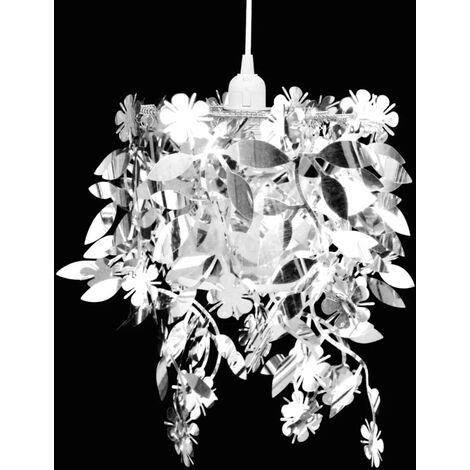 Leaves Paillette Pendant Chandelier Lamp 21,5 x 30 cm Silver