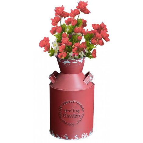 "Lechera/Macetero Decorativo Vintage Rojo de Metal ""healing garden"" 14X10X25 cm"