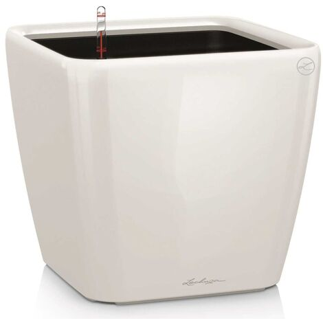 LECHUZA Planter Quadro 28 LS ALL-IN-ONE High-Gloss Taupe 16145