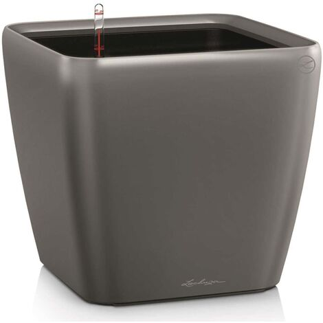 LECHUZA Planter Quadro 35 LS ALL-IN-ONE High-Gloss Taupe 16165