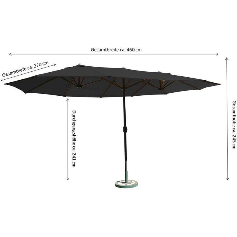 LECO Sonnenschirm Gartenschirm Ovalschirm Schirm Schirmhülle Ständer 460 cm Neu