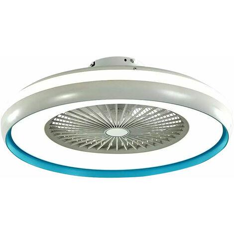 LED 3 étapes ventilateur de plafond lumière du jour lampe ventilateur télécommande bleu