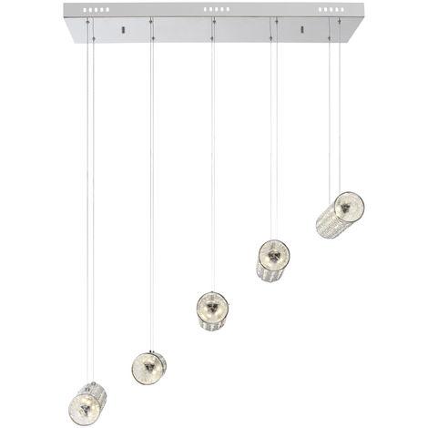 LED 55 Watt lampe suspendue avec des cristaux de verre clair TINCA