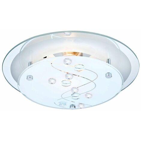 LED 7W iluminación de la lámpara de techo de vidrio alrededor de esmerilado piedras decorativas EEK claro A +