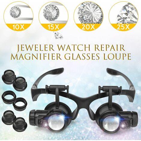 LED allume les lunettes de loupe 10X 20X 25X 15X lentille binoculaire montée sur la tête loupe