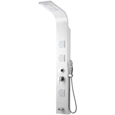 Aluminium Duschpaneel Regendusche Massage Wasserfall Thermostat Weiß Sanlingo