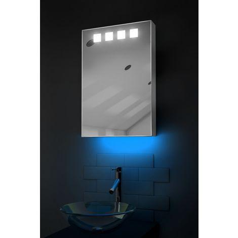 LED Ambient Bathroom Mirror Cabinet With Sensor & Shaver Socket k254B