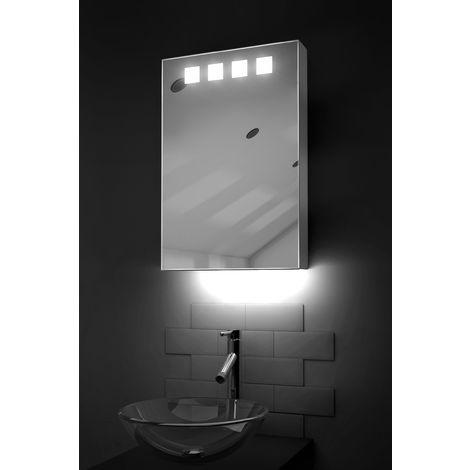 LED Ambient Bathroom Mirror Cabinet With Sensor & Shaver Socket k254W