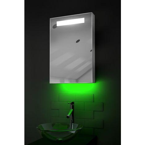 LED Ambient Bathroom Mirror Cabinet With Sensor & Shaver Socket k258G