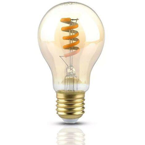 LED Ampoule V-TAC Vintage Spiral Filament COB Verre Ambre 4W A60 E27 360LM 300° A+ VT-2154 – SKU 7335 Blanc chaud 2200K