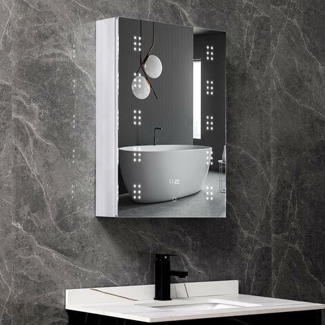 LED Anti-fog Bathroom Mirror Cabinet Storage 500(W)*700(H)*135(D)mm