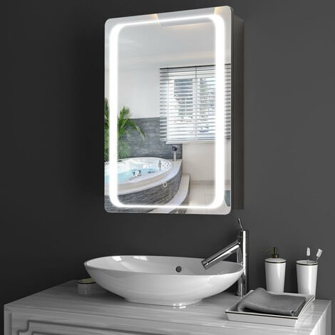 """main image of """"LED Anti-fog Bathroom Wall Mounted Mirror Cabinet 500(W)*700(H)*135(D)mm"""""""