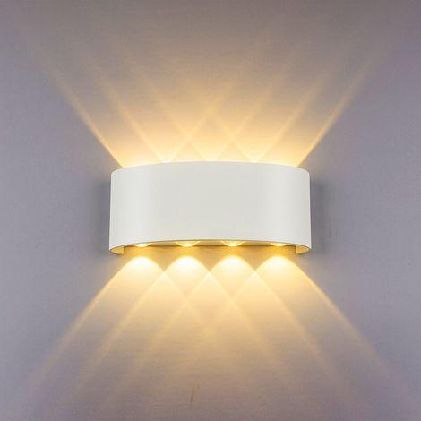 LED Apliques de pared Modernos 8W (Blanco)Impermeable Bañadores de Pared Aluminio Luz para dormitorio Interior Exterior Decoración del Hogar Pasillo Entrada,?Luz (Blanco)Cálido?