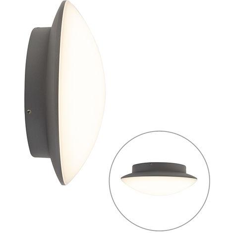 LED Applique extérieure ronde Moderne Graphite / Antracite / Gris Foncé - Calvus Qazqa Moderne Luminaire exterieur IP54 Ovale