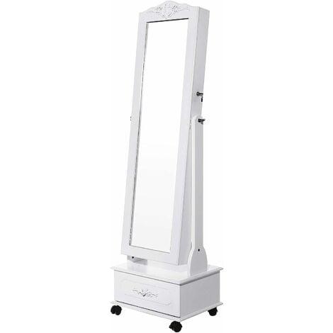 LED Armoire à Bijoux Grand tiroir Serrure Psyché avec roulettes Serrure JBC61W