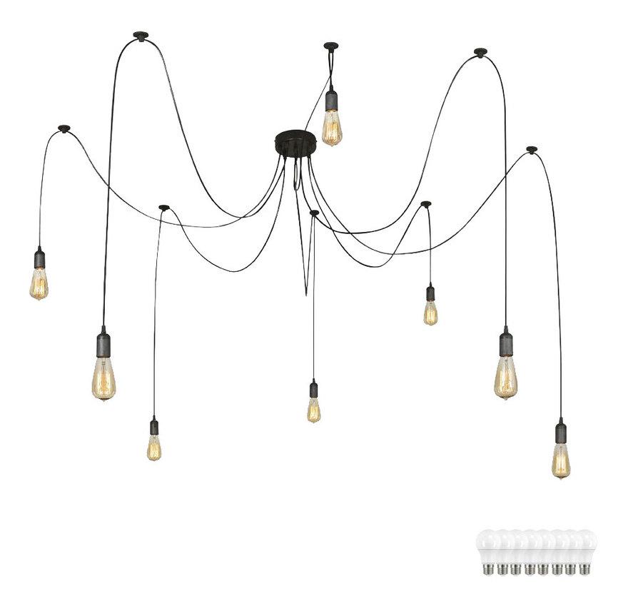 Etc-shop - Decken Hänge Leuchte Kabel 1,5 - 3,5m Schwarz Strahler Pendel Lampe im Set inkl. LED Leuchtmittel