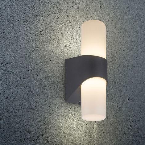 LED Außenleuchte Lyanna leuchtet auf- und abwärts Anthrazit, Opal