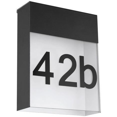 Led Außenwandleuchte Ip44 180x230mm Mit Hausnummer Anthrazit Eek A Spektrum A Bis E