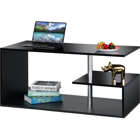 LED Backlight Coffee Table Wooden Storage Table Black 100x50x46cm