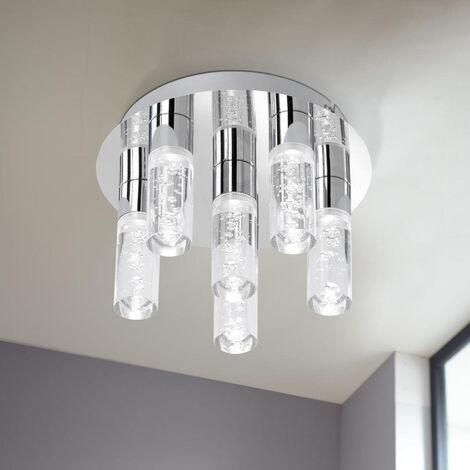 LED Badezimmer Deckenleuchte Kent, chrom, transparente Blaseneinschlüsse,  6-flammig EEK A+ [Spektrum A++ bis E]