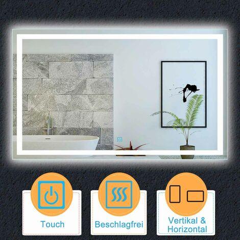 LED Badspiegel 80-160 cm Kaltweiß TOUCH BESCHLAGFREI Wandspiegel Lichtspiegel