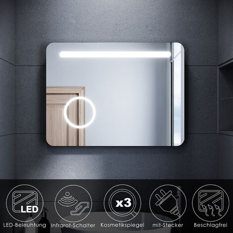 LED Badspiegel Badezimmerspiegel mit LED Beleuchtung Infrarot-Schalter Beschlagfrei 3x Kosmetikspiegel kaltweiß 80x60cm