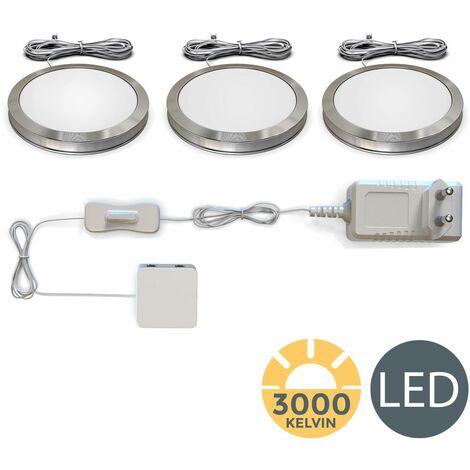 LED bajo luz de gabinete I Iluminación para Vitrinas I Pack de 3 I Set completo en total 6W I Blana cálida 3000K 510lm I Luz Mueble Cocina