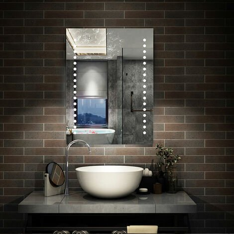 Led Bathroom Mirror 500 x 700 600 x 800 | Control LED & Demister SEPARATELY
