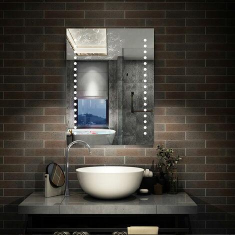 Led Bathroom Mirror 500 x 700 600 x 800 | Control LED & Demister SEPARATELY