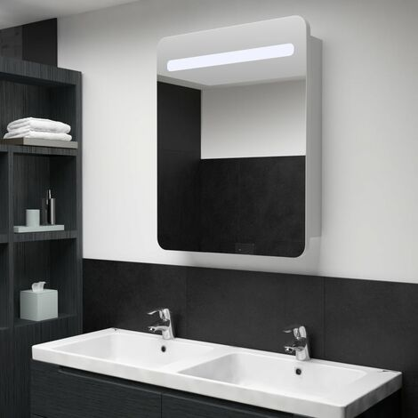 LED Bathroom Mirror Cabinet 60x11x80 cm - White
