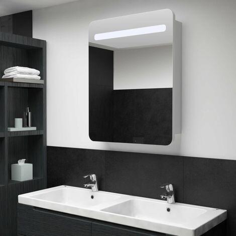 LED Bathroom Mirror Cabinet 60x11x80 cm - White