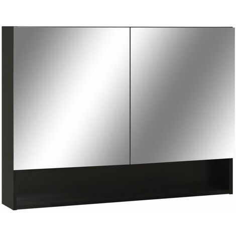 LED Bathroom Mirror Cabinet Black 80x15x60 cm MDF