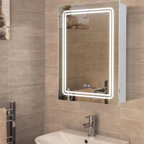 LED Bathroom Mirror Cabinet Wall Illuminated Light Cupboard Clock Shaver Socket