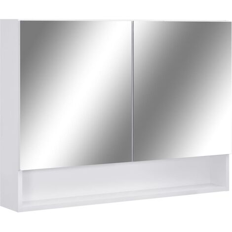 LED Bathroom Mirror Cabinet White 80x15x60 cm MDF
