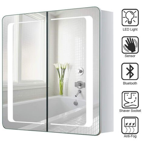 LED Bathroom Mirror Cabinet with Lights Shaver Socket Bluetooth Touch Sensor Demister Pad 650x600MM