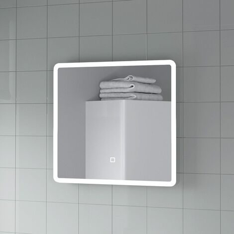"""main image of """"LED Bathroom Mirror Demister Pad 500x500mm Square Mains Powered Wall Mounted"""""""