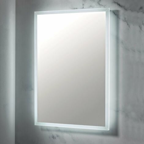 LED Bathroom Mirror Demister Pad Shaver Socket 500mm x 700mm Wall Mounted Mains