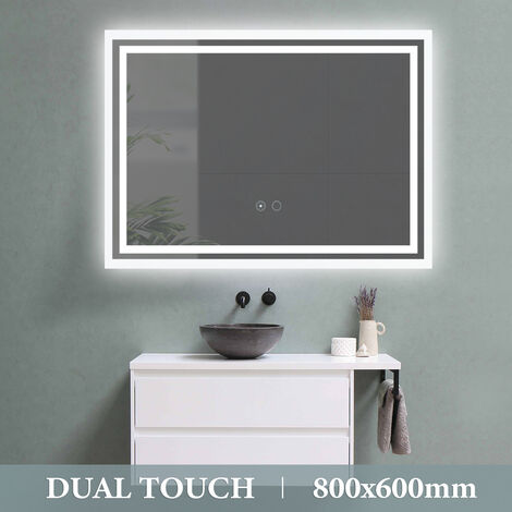 LED Bathroom Mirror Dual Touch Control Illuminated with Demister 800X600mm UK Plug
