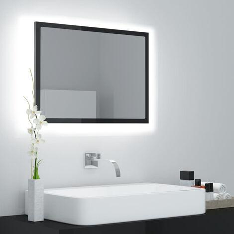 "main image of ""LED Bathroom Mirror High Gloss Black 60x8.5x37 cm Chipboard"""