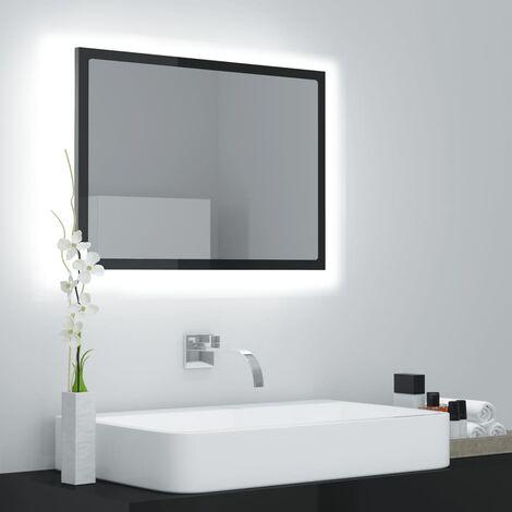 "main image of ""LED Bathroom Mirror High Gloss Black 60x8.5x37 cm Chipboard37586-Serial number"""